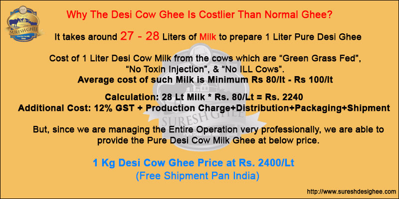 Desi cow ghee is costlier than normal ghee : SureshDesiGhee.com